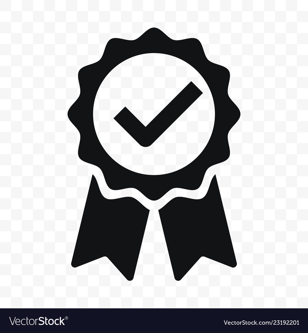 Quality icon certified check mark ribbon label