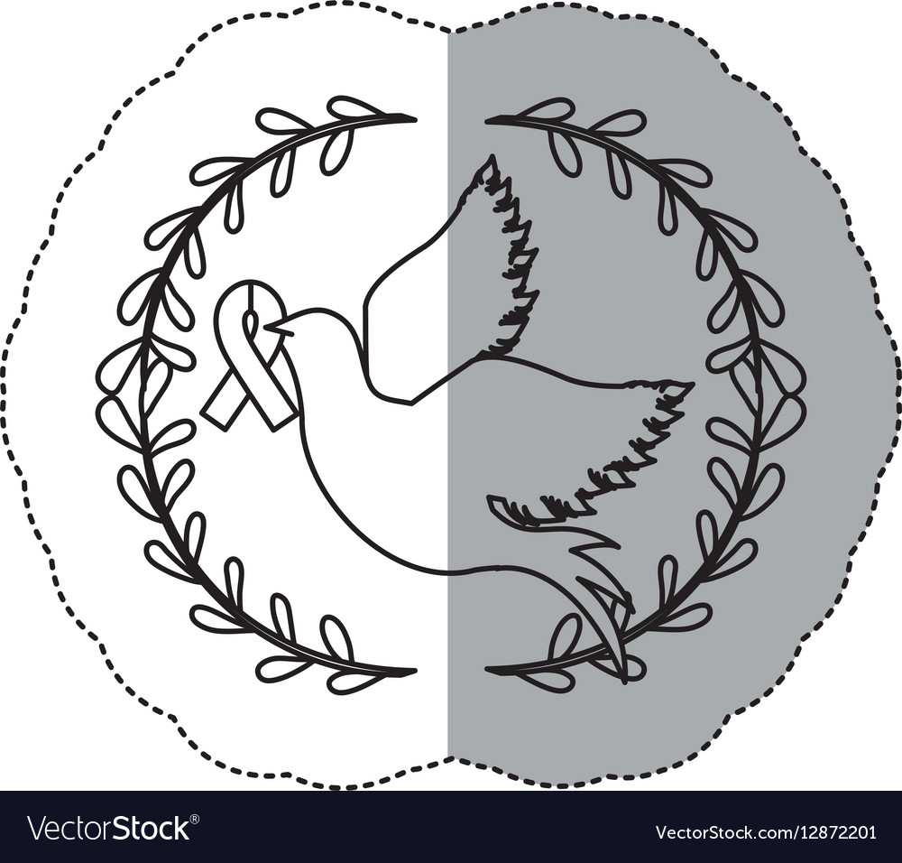 Sticker ornament with silhouette pigeon wiht