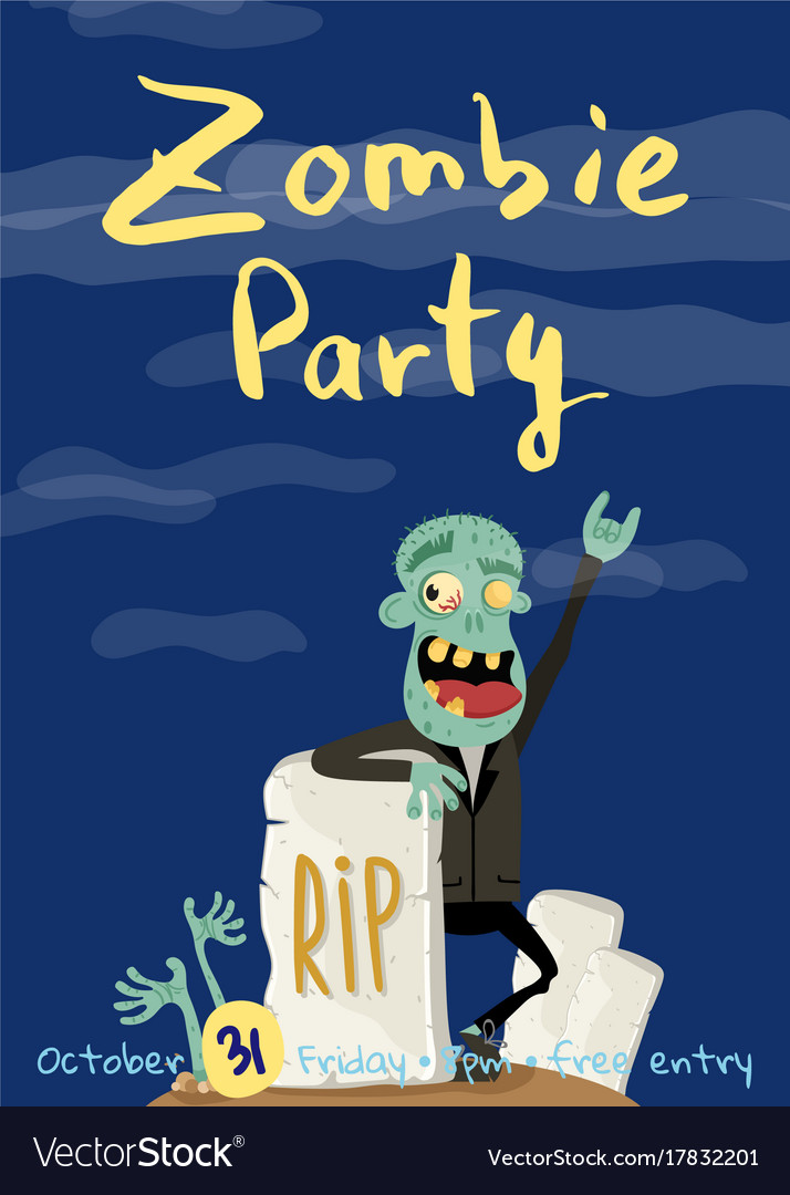 Zombie party poster with happy undead man