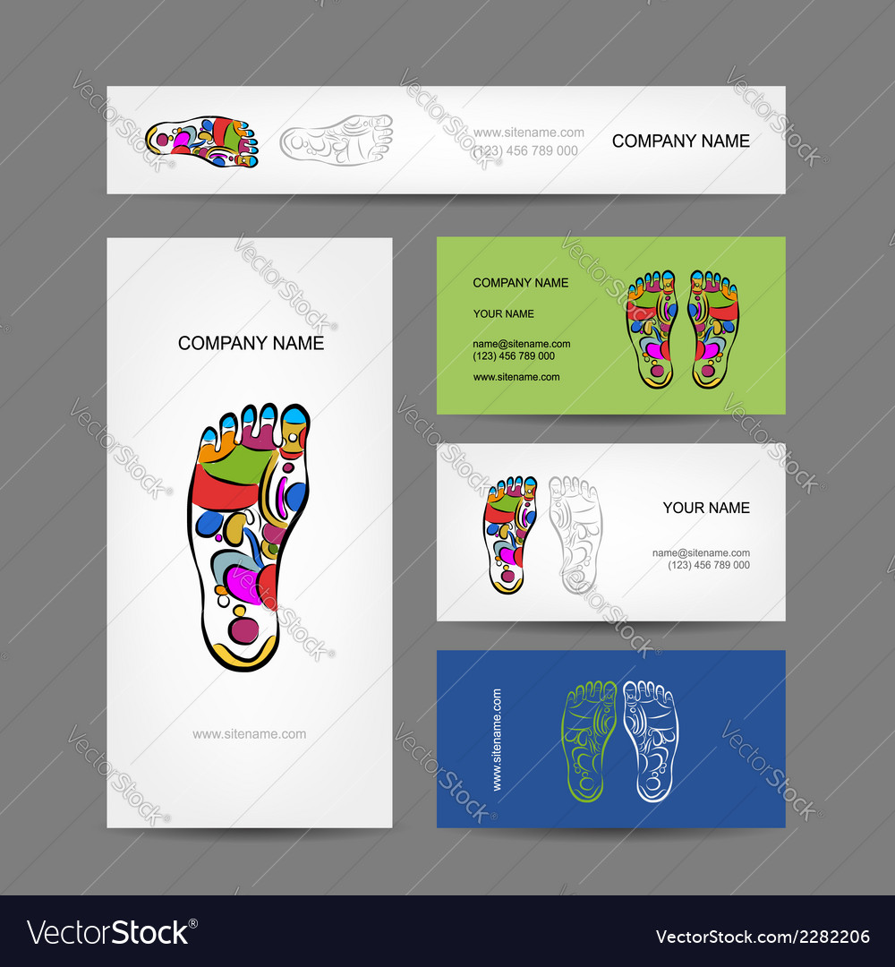 Business cards design foot massage reflexology Vector Image
