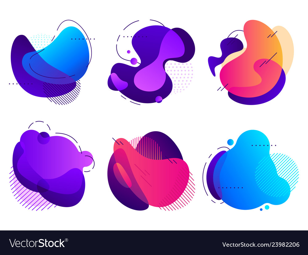 Colorful abstract shapes saturated fluid