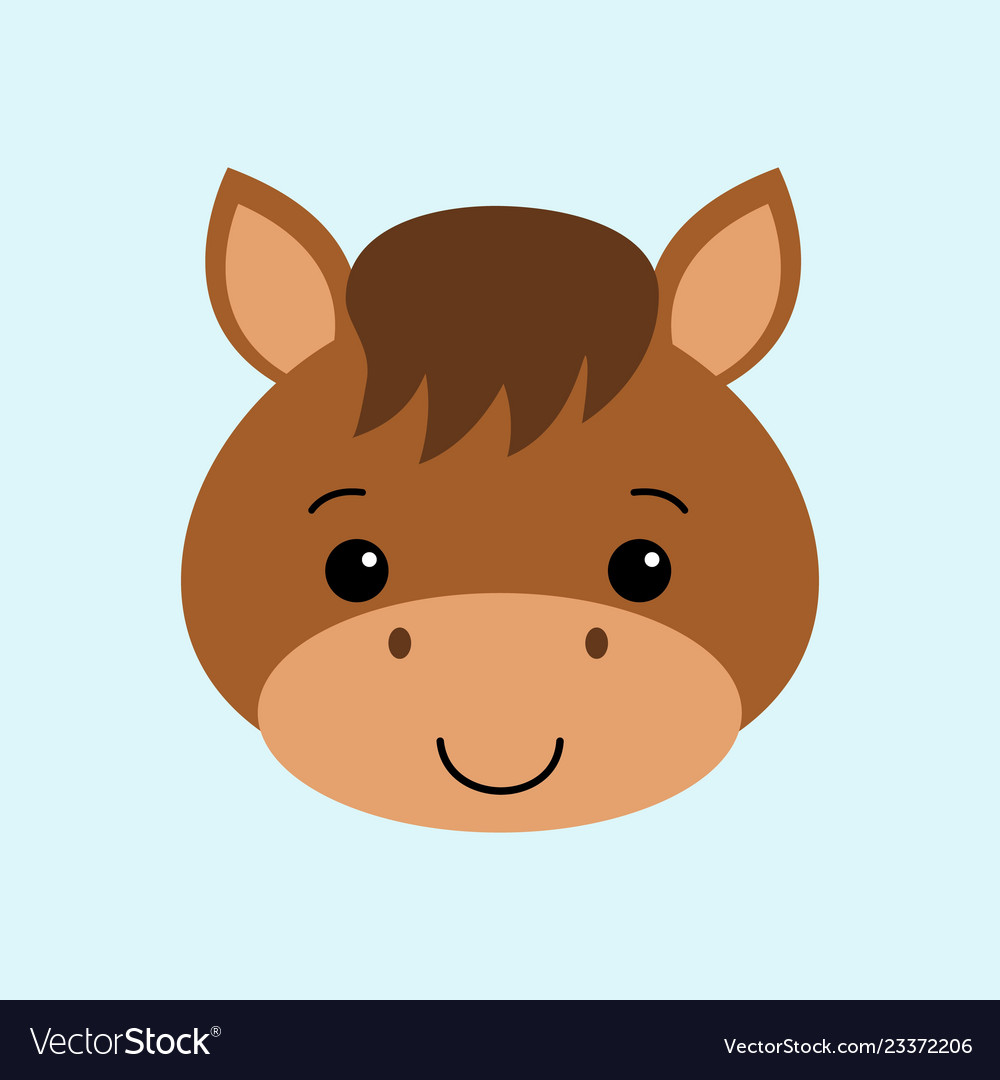 Farm Animals Cute Horse Flat Style Royalty Free Vector Image