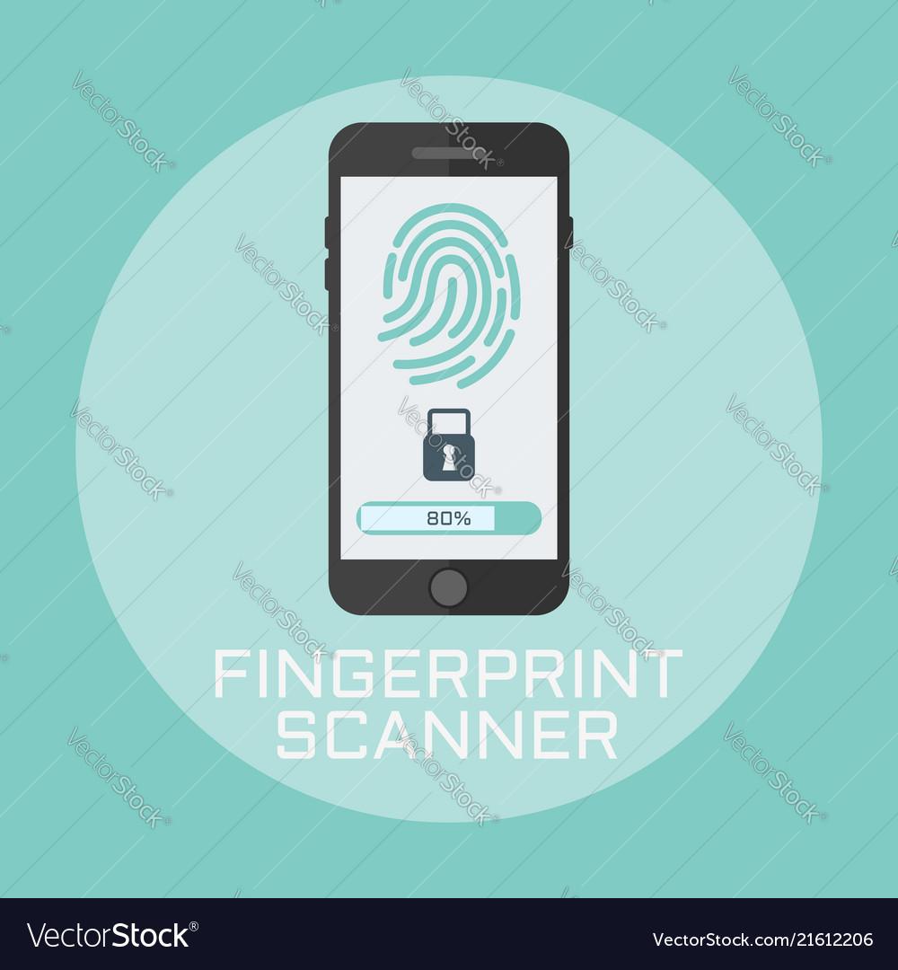 Fingerprint smartphone access lock flat style