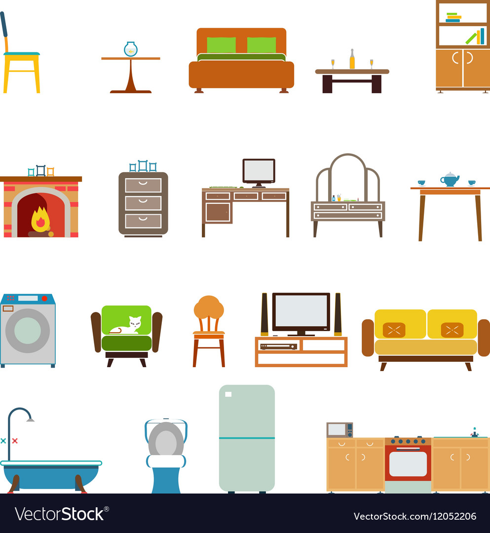 Creative Furniture Icons Set Flat Design ICONS IN BUILDINGS