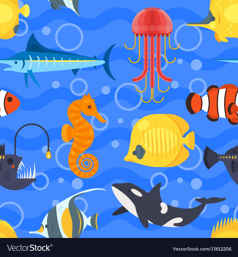 Flat style seamless pattern with exotic fish