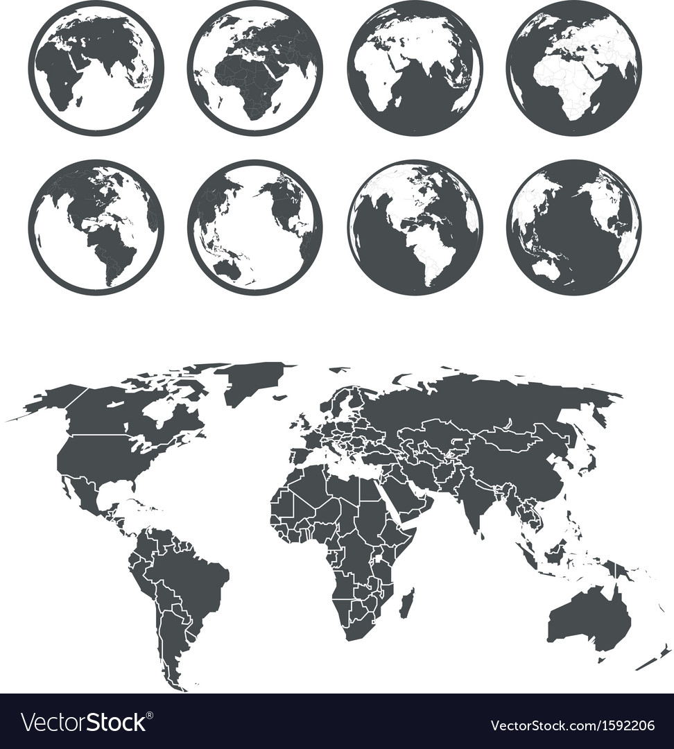 Globe and Earth map scheme