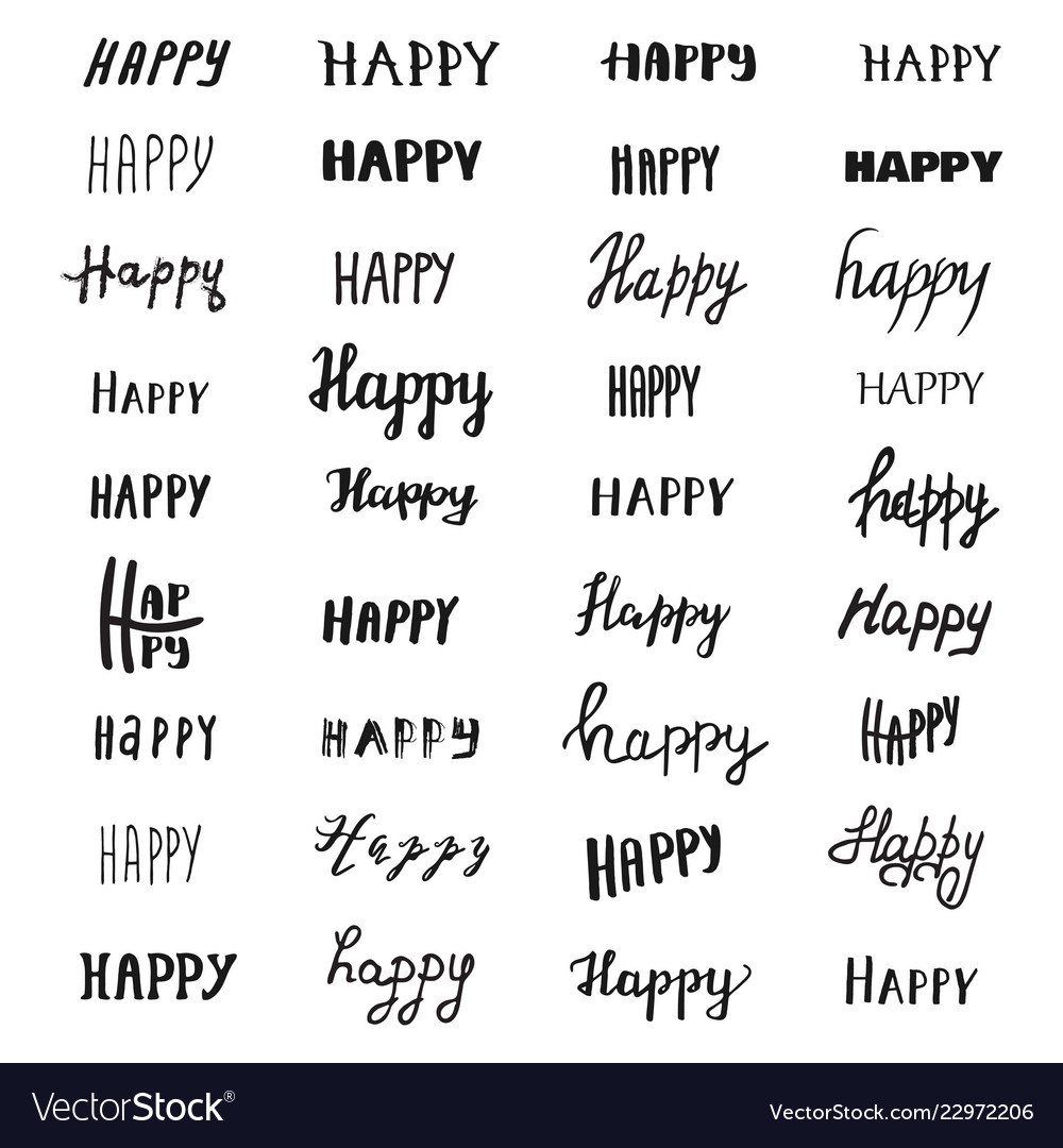 Happy lettering collection