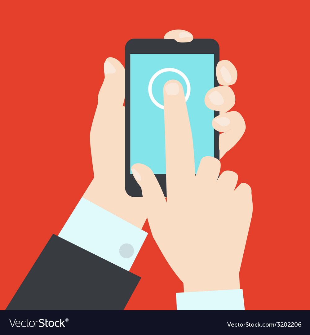 Modern style of hands with mobile gadget