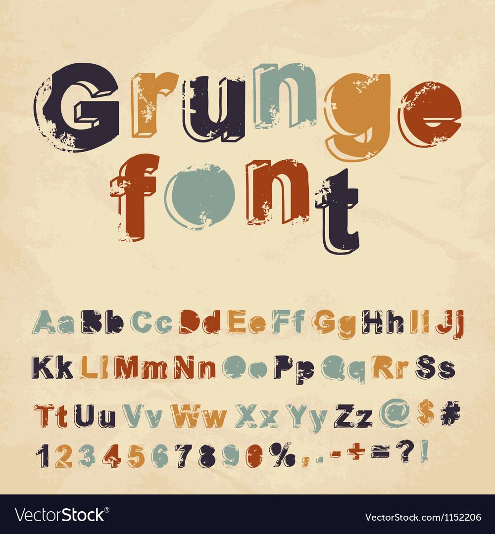 Retro grunge font vector image