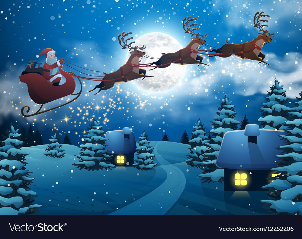 Santa Claus Flying on a Sleigh with Deer House