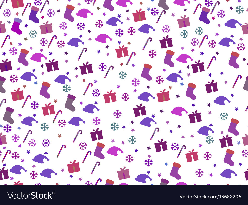 Seamless pattern with candy canes and gift box