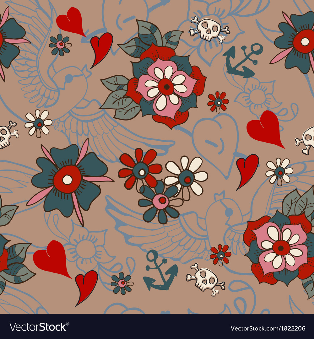 Seamless Vintage pattern with flowers for