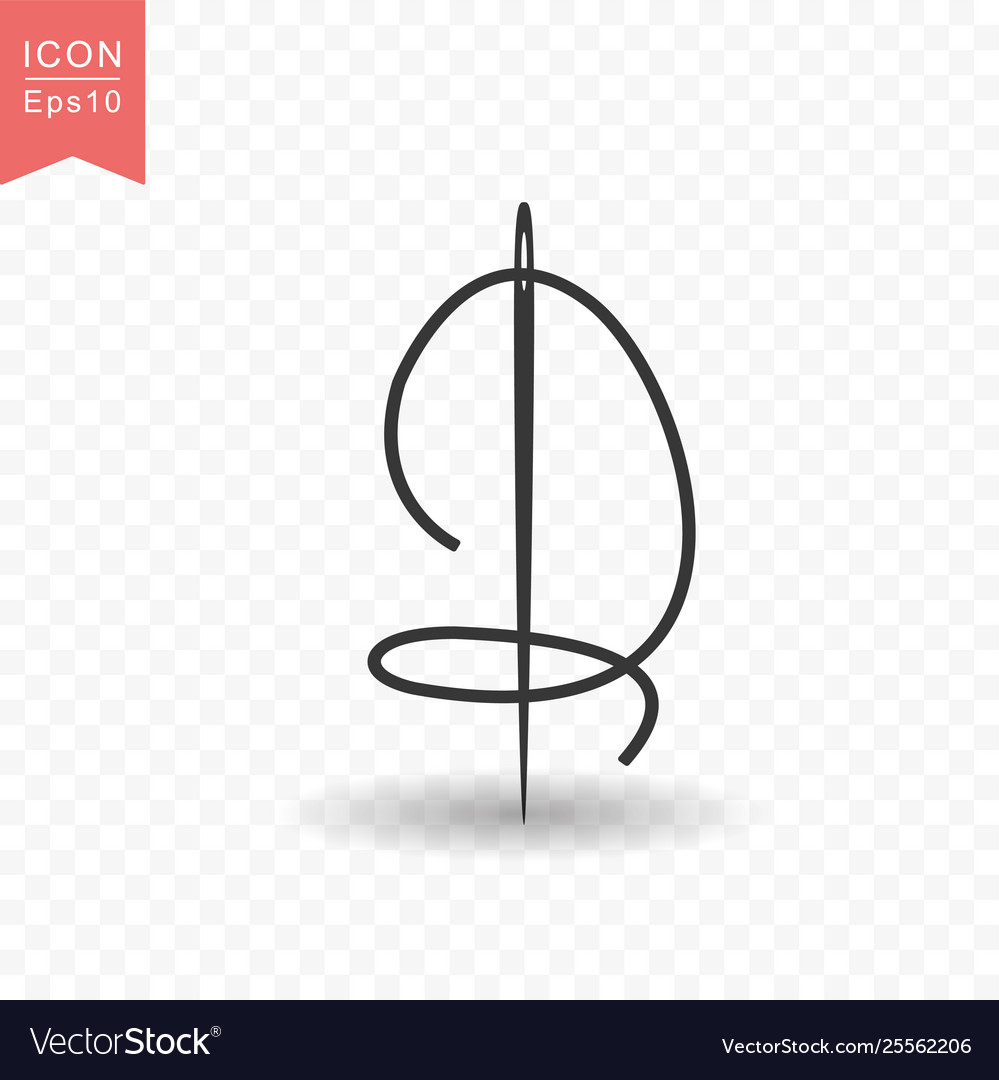 Sewing needle icon simple flat style