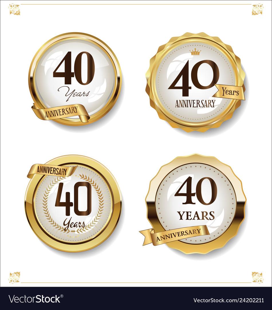 Anniversary golden labels retro vintage design