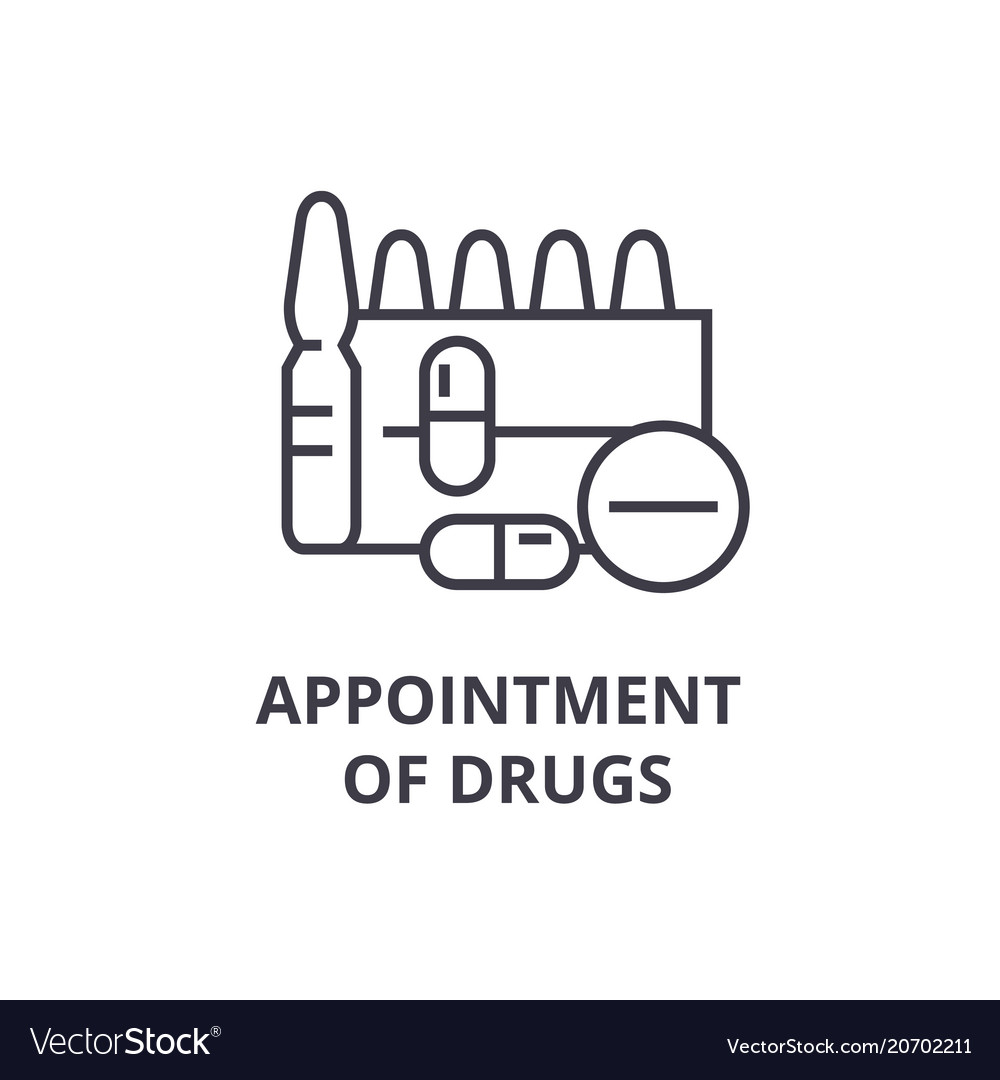Appointment of drugs thin line icon sign symbol vector image