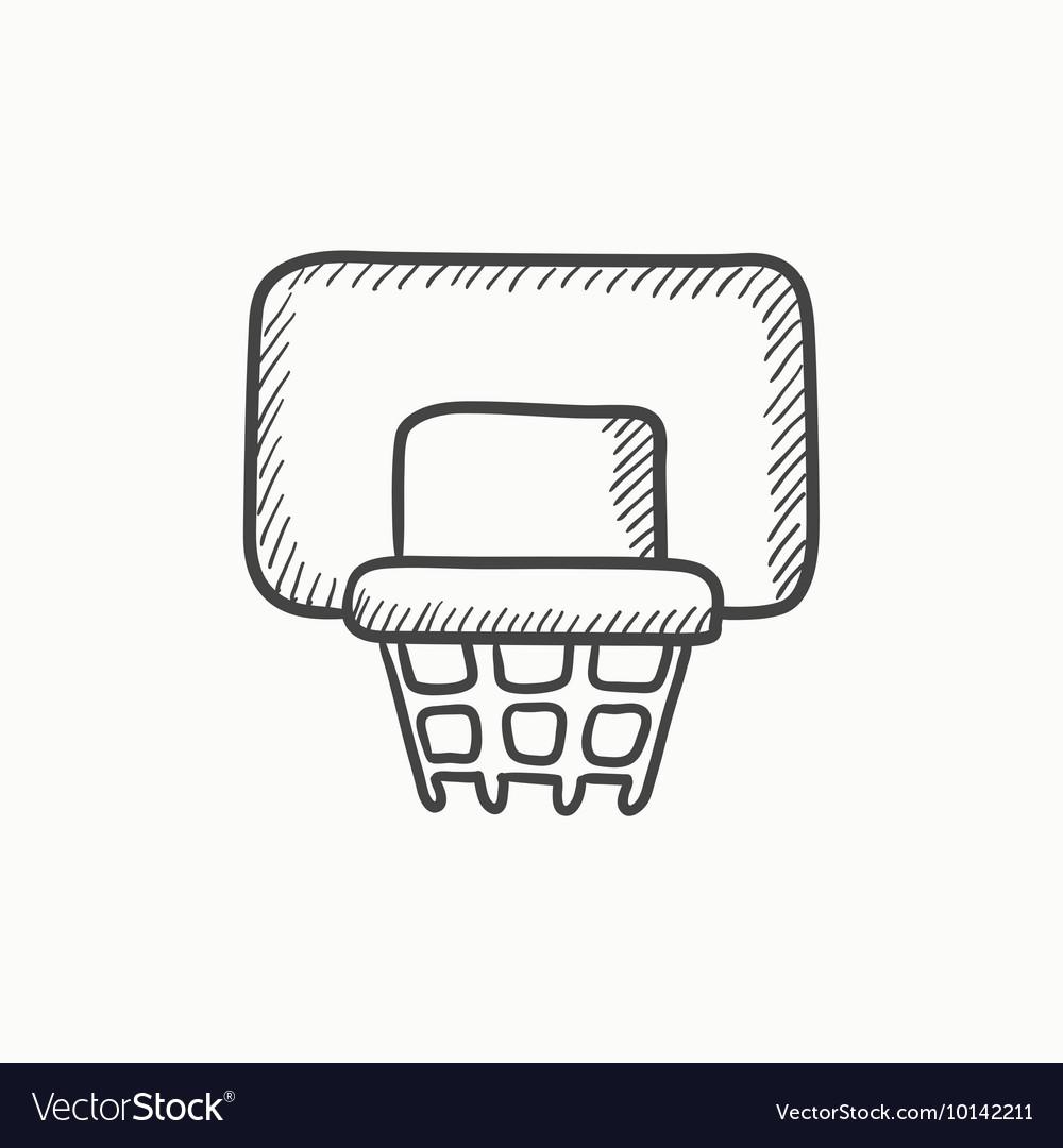 Basketball Hoop Sketch Icon Royalty Free Vector Image Diagram
