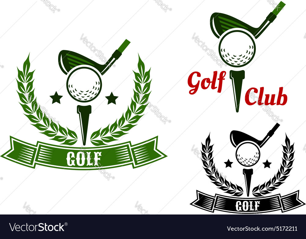 Golf club emblems with first stroke from tee