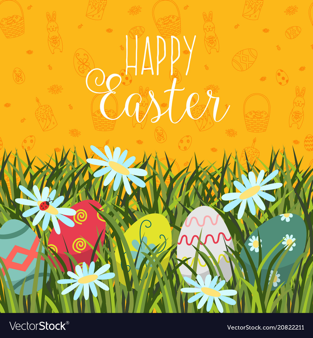 Happy easter greeting card banner eggs in grass