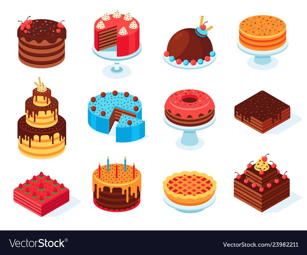 Isometric cakes chocolate cake slice delicious