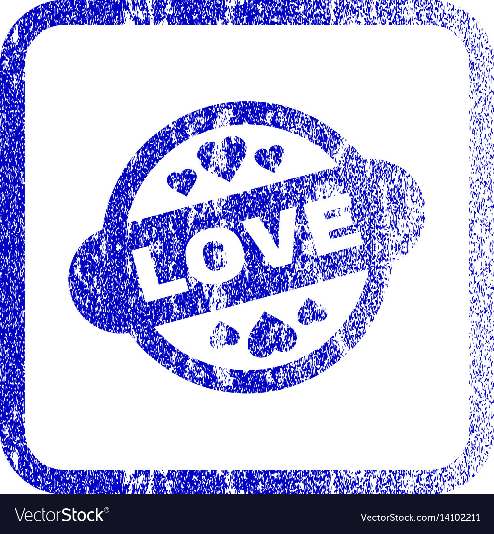 Love stamp seal framed textured icon