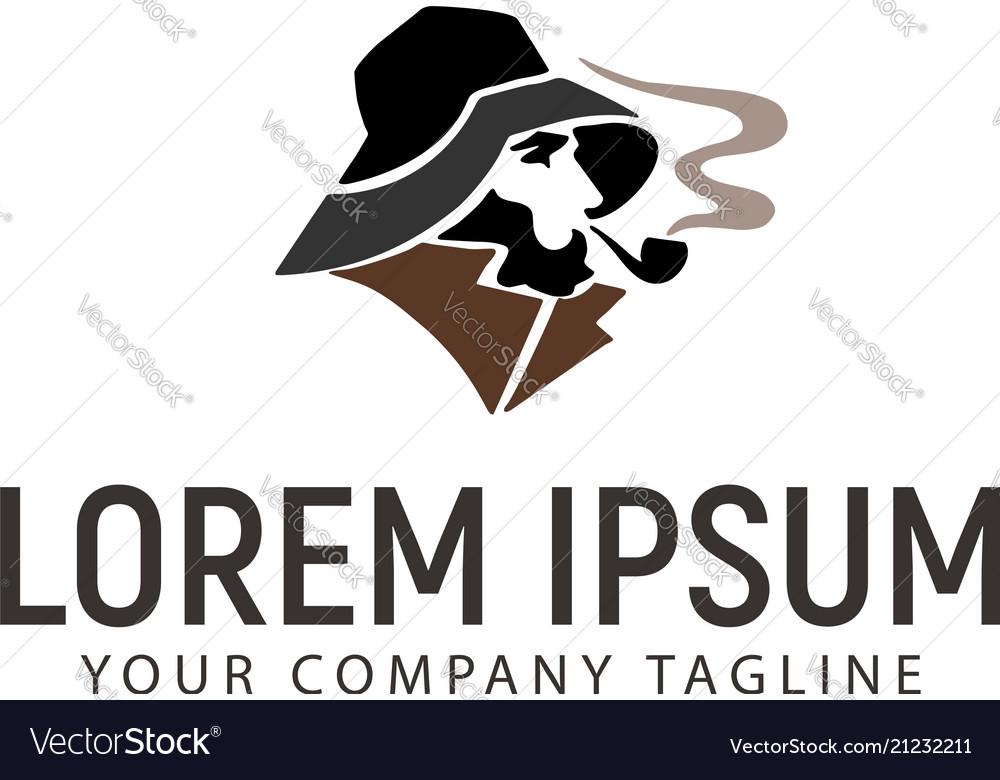 Smoking man logo design concept template