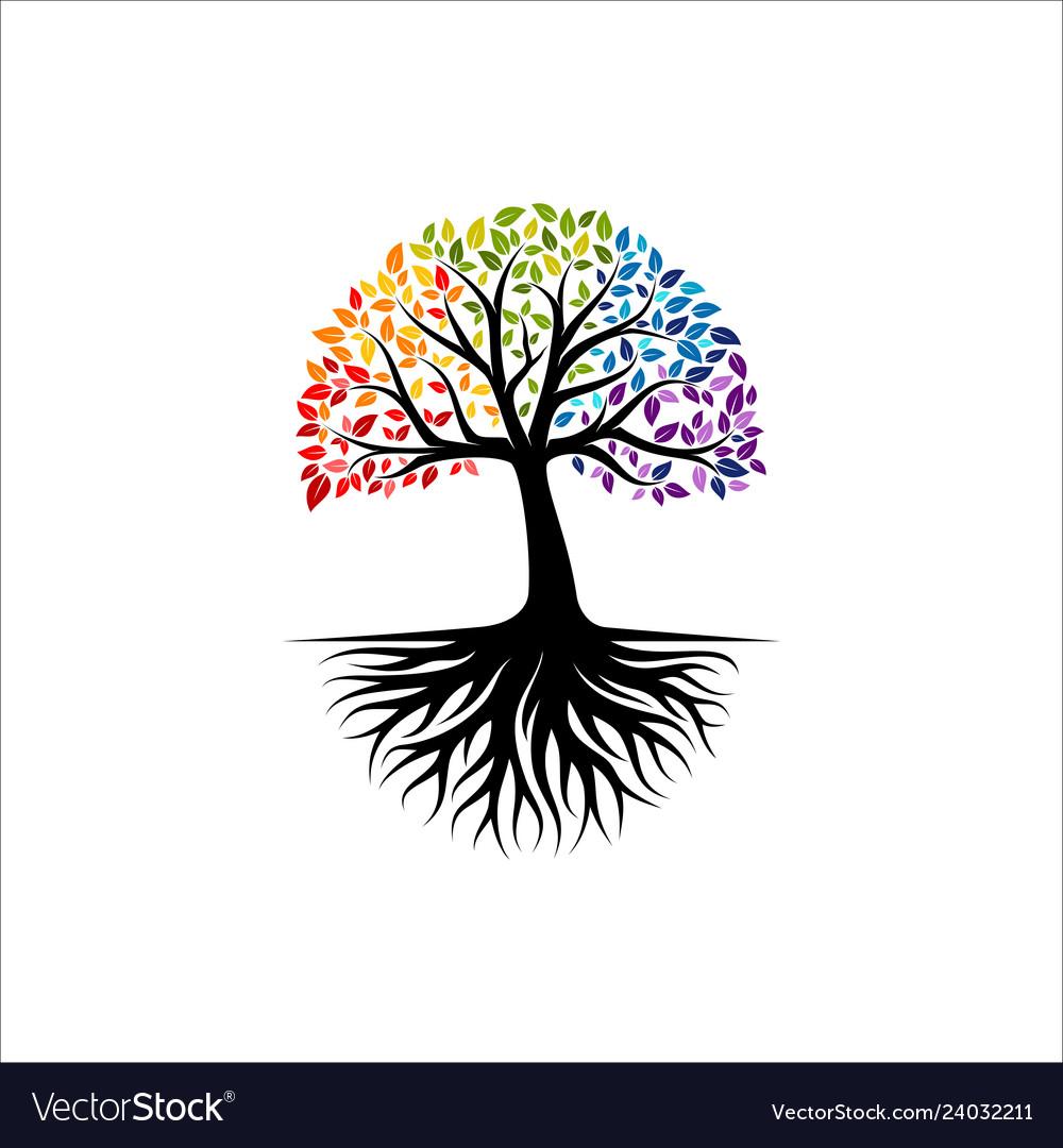 Vibrant tree logo design root