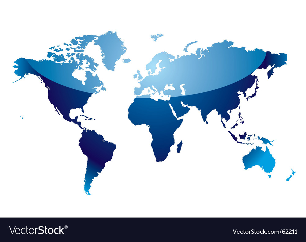 World map reflect blue Royalty Free Vector Image