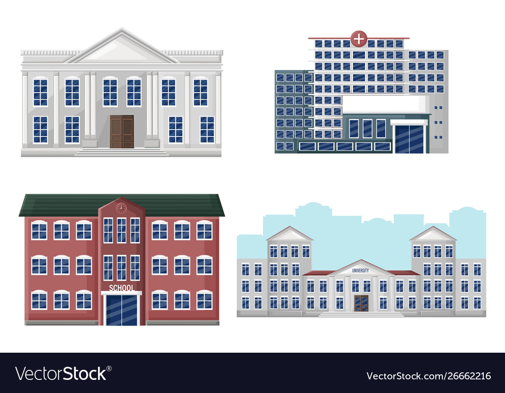 9a146fa3292 Architectural facades set university school