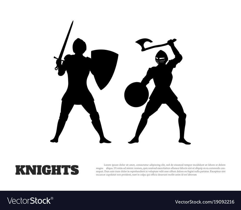 Black silhouette of knight battle