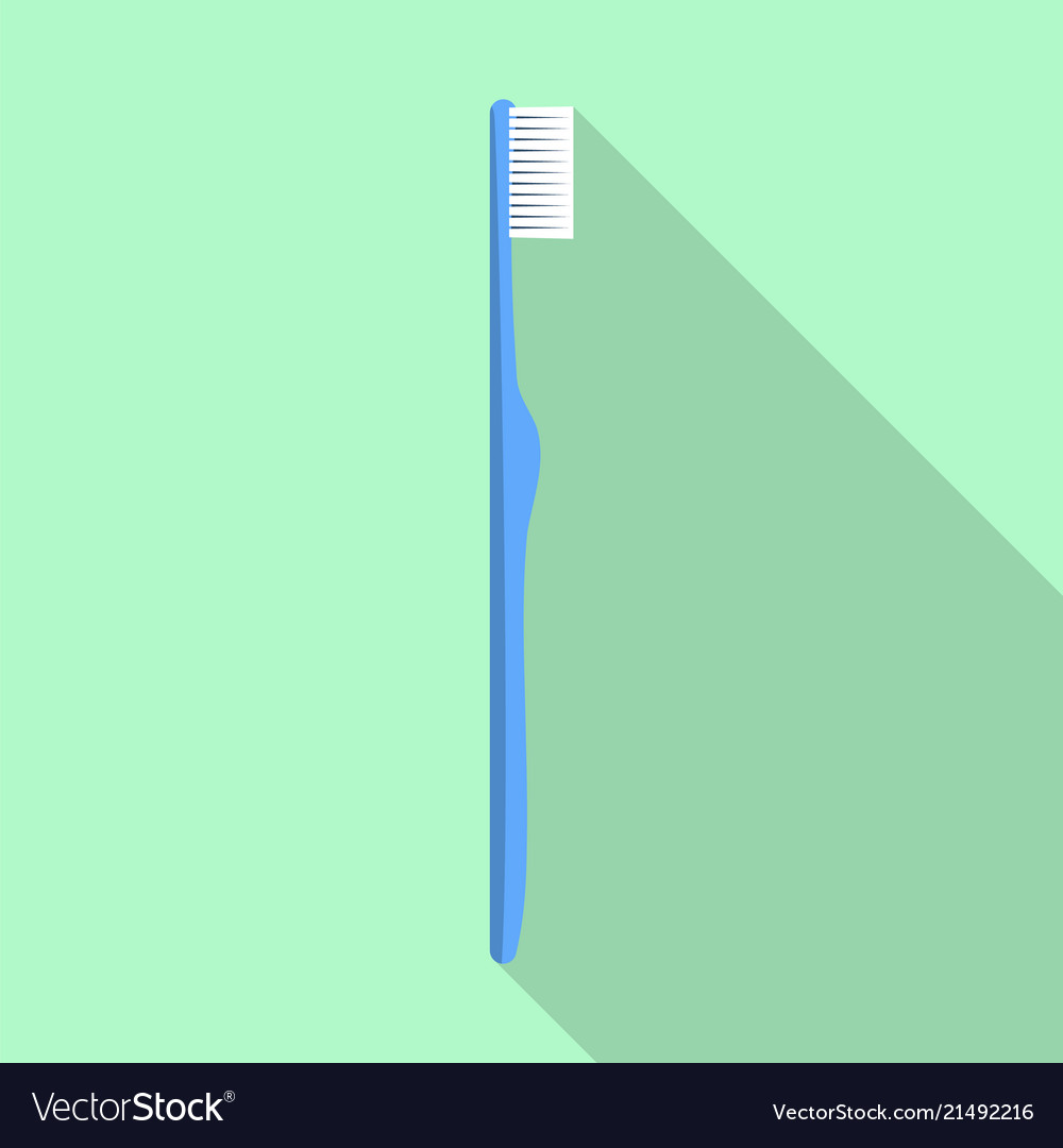 Blue kid toothbrush icon flat style