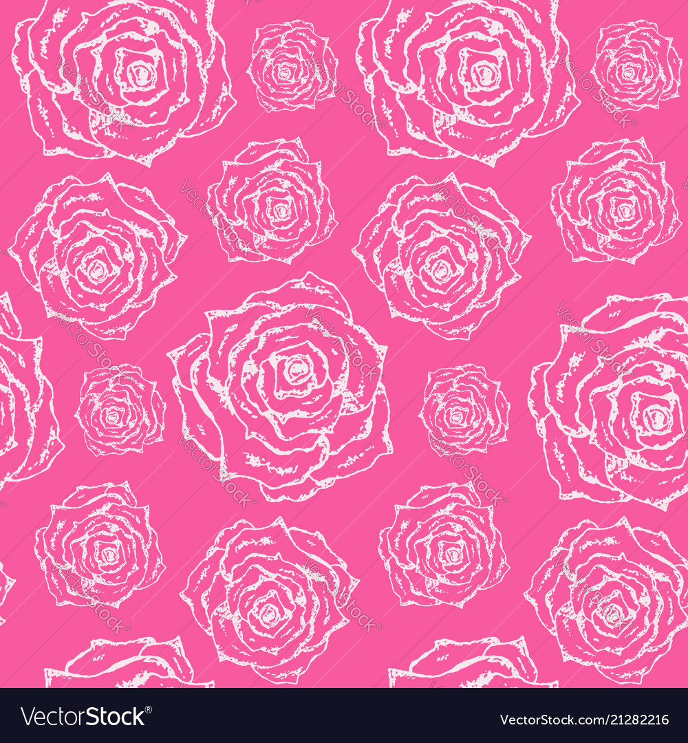 Bright pink pattern with white outline roses