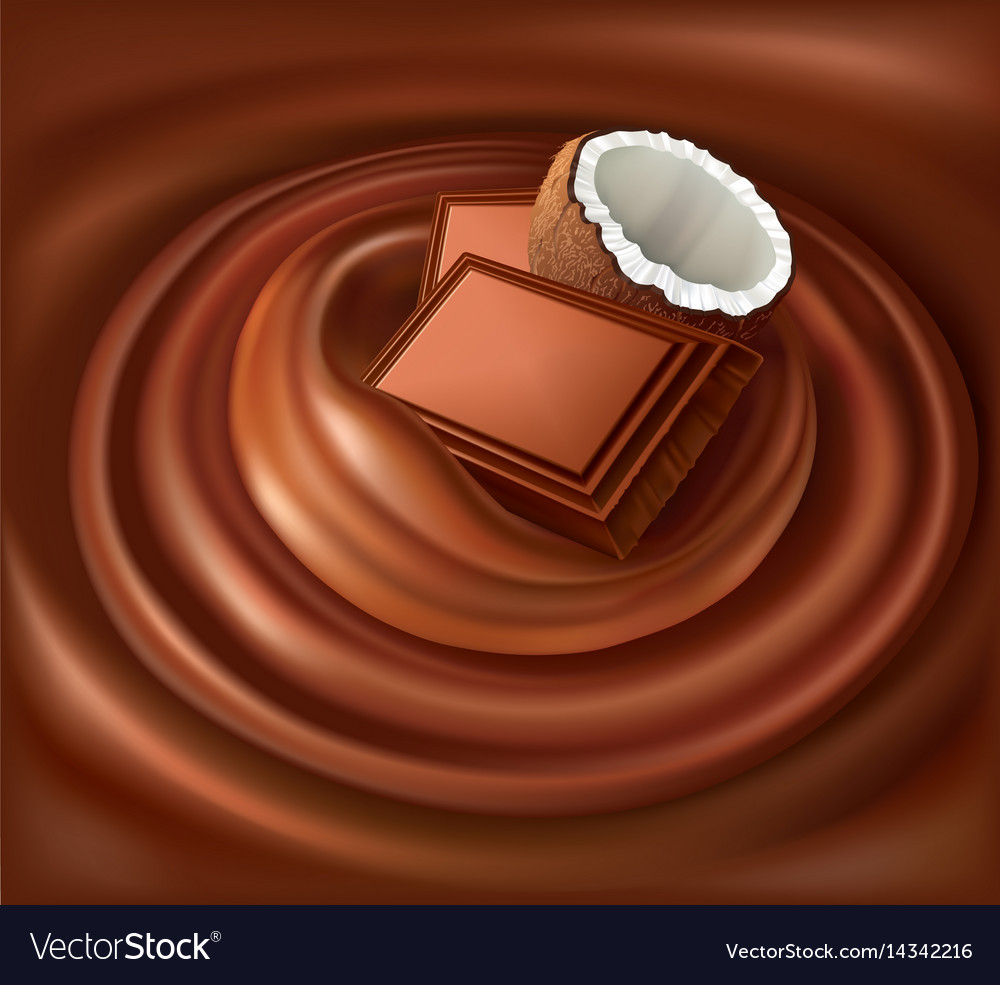 Chocolate candy background swirl with coconut