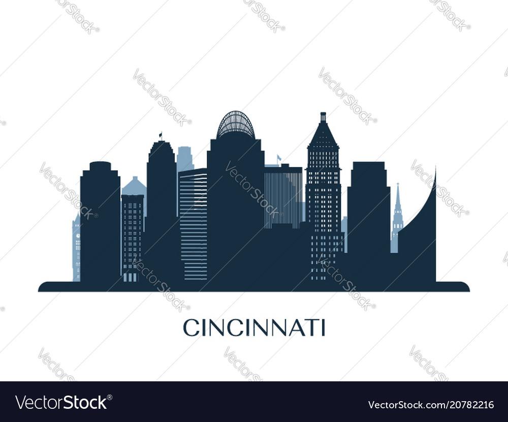 Cincinati skyline monochrome silhouette