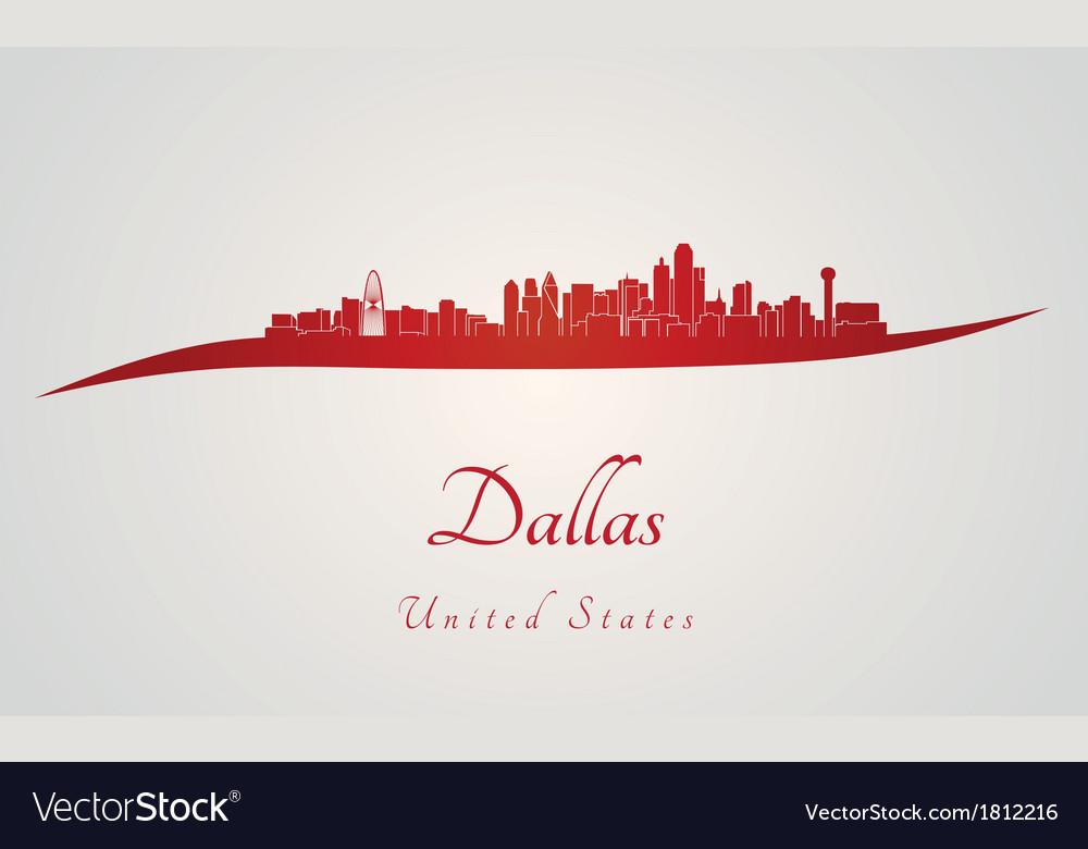 Dallas skyline in red