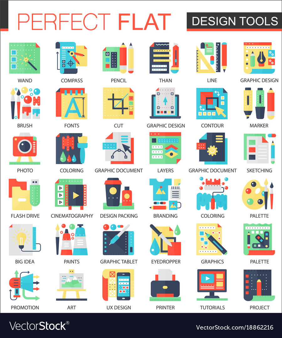 Design interface tools complex flat icon