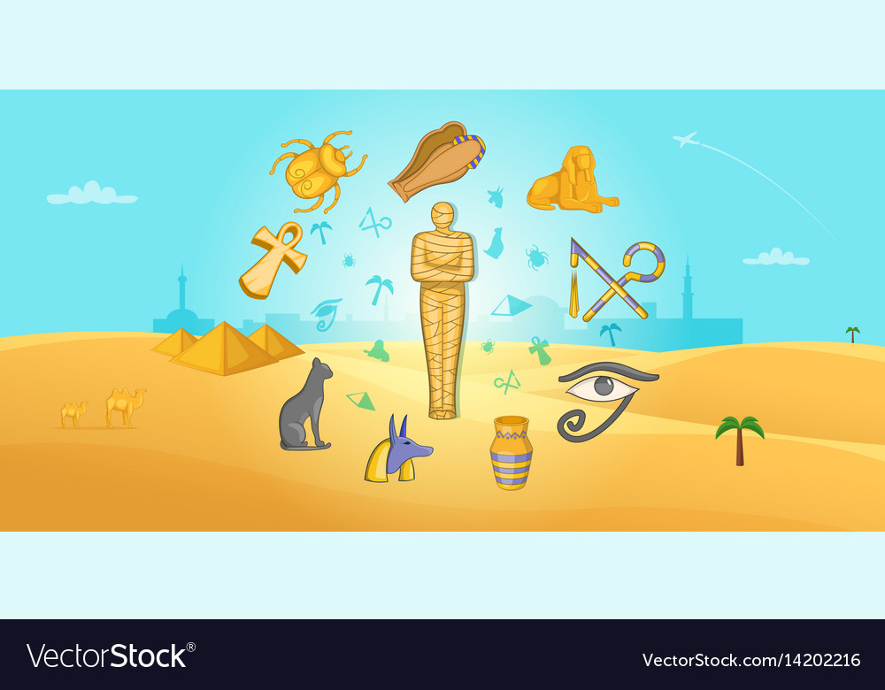 Egypt travel horizontal banner cartoon style
