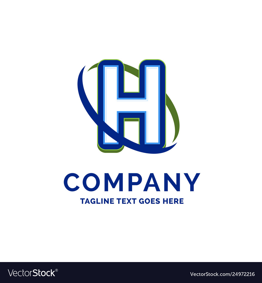 H company name design logo template brand name