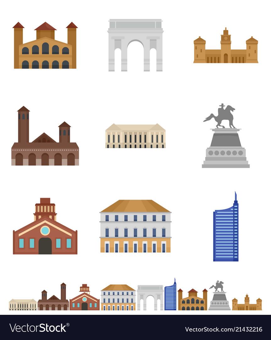 Milan italy city skyline icons set flat style