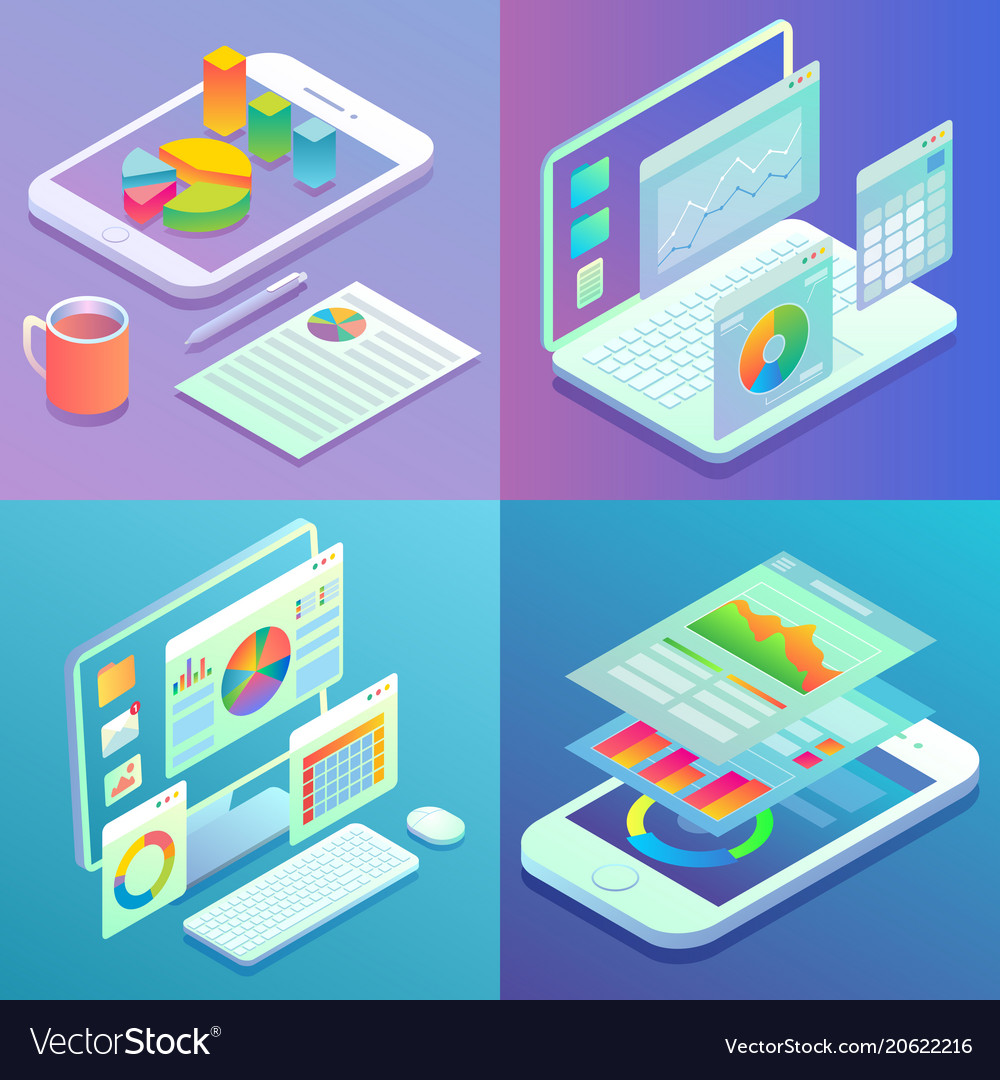 Mobile and web analytics concept flat