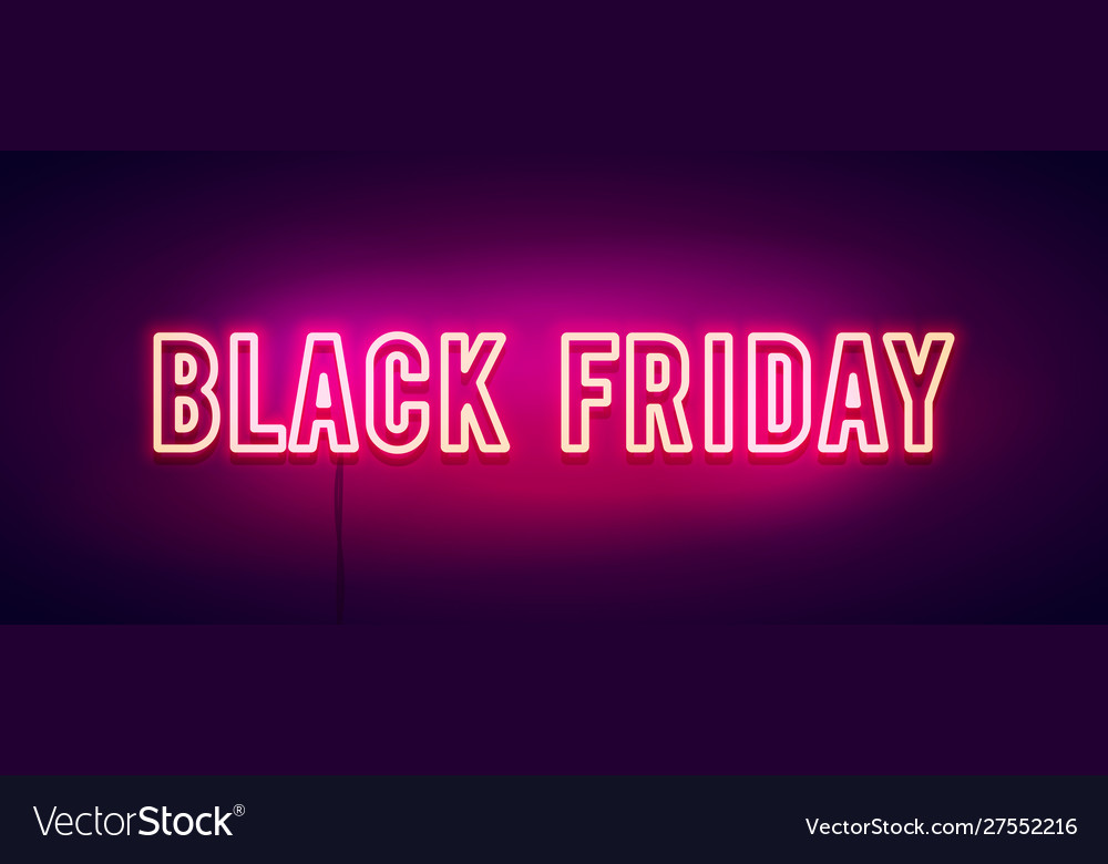 Olorful retro black friday neon light banner