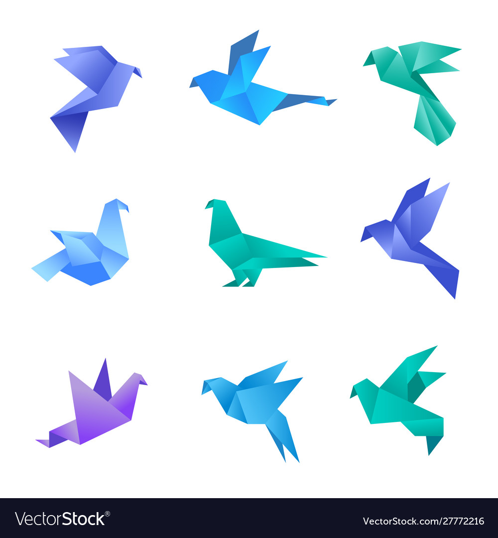 Origami dove pigeon birds from paper stylized