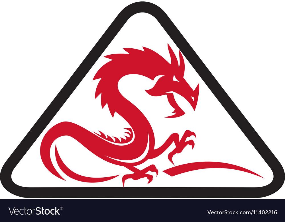 Red Dragon Silhouette Triangle Retro vector image