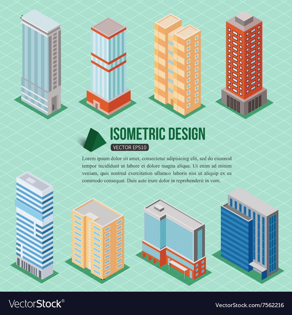 Set of 3d isometric tall buildings icons for map