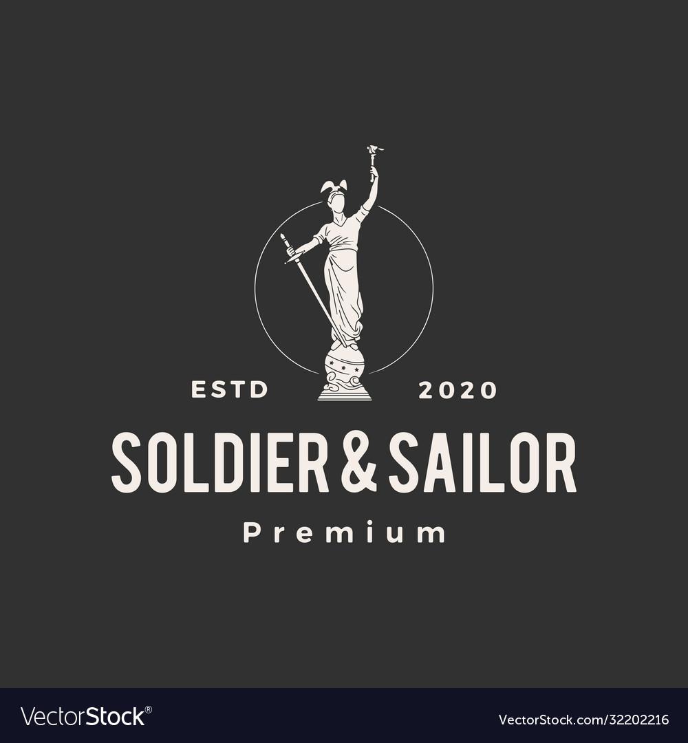 Soldier and sailor statue hipster vintage logo
