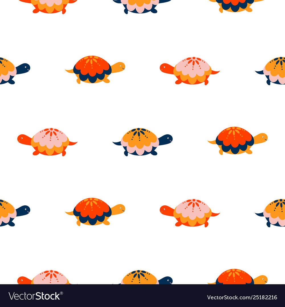 Turtle seamless pattern cartoon style red