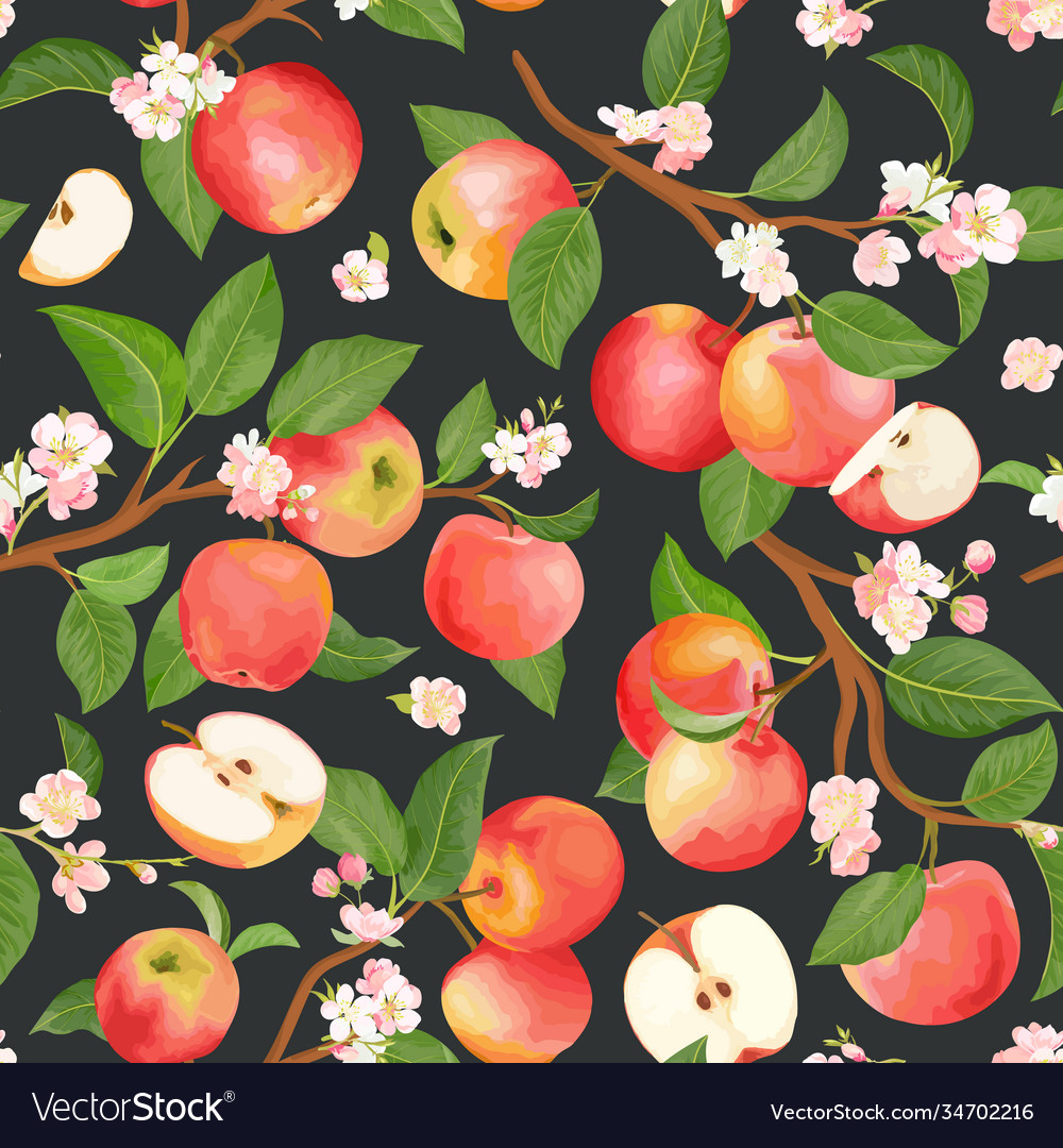 Watercolor floral apple seamless pattern