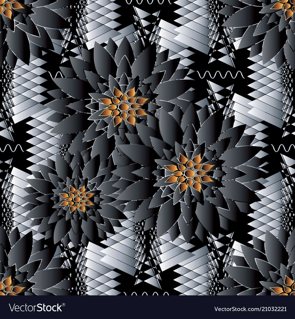 Floral seamless pattern black tribal background