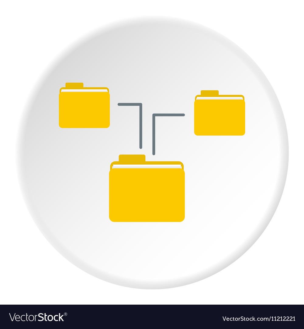 Folders on computer icon flat style