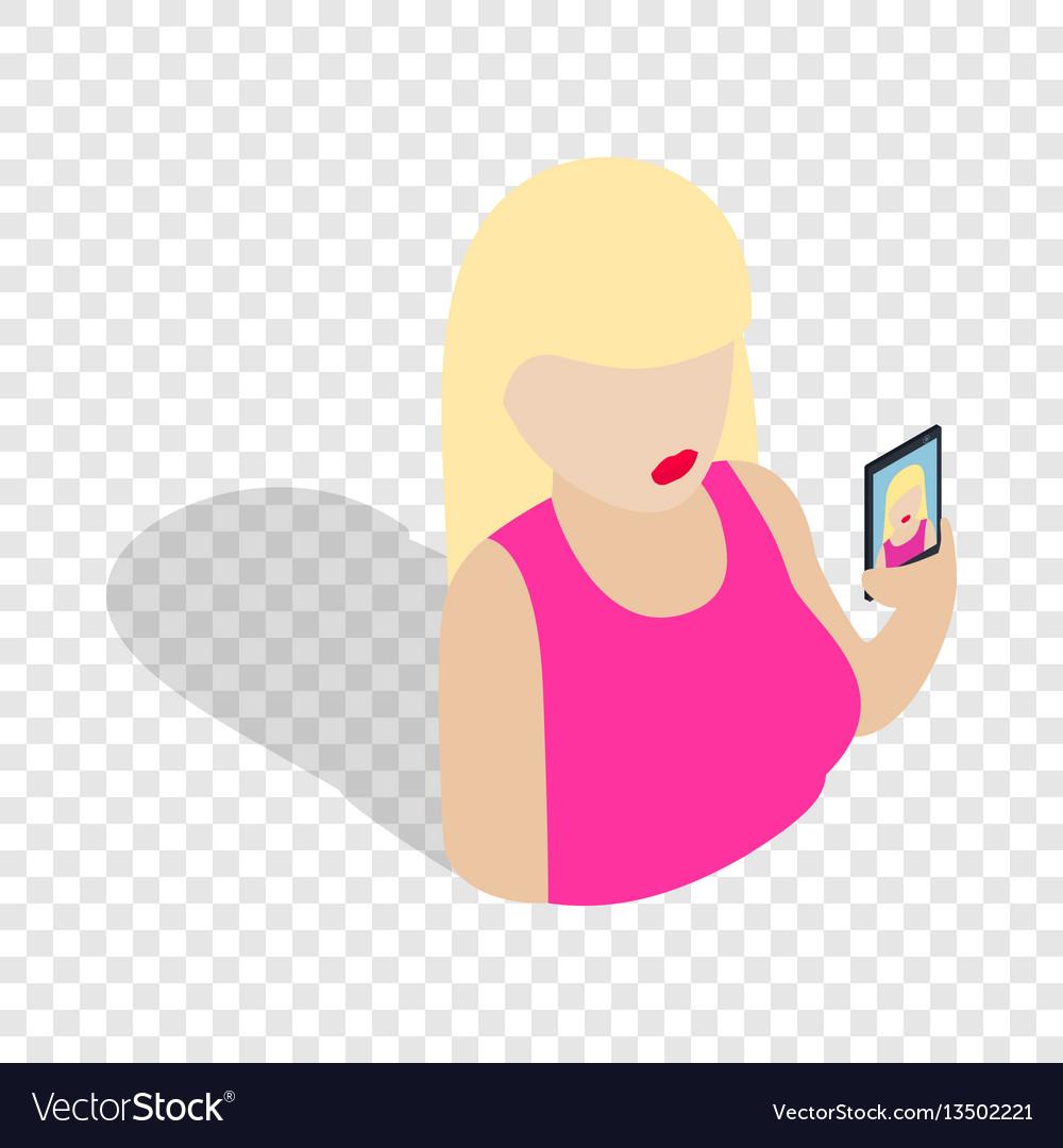 Girl taking self photo isometric icon
