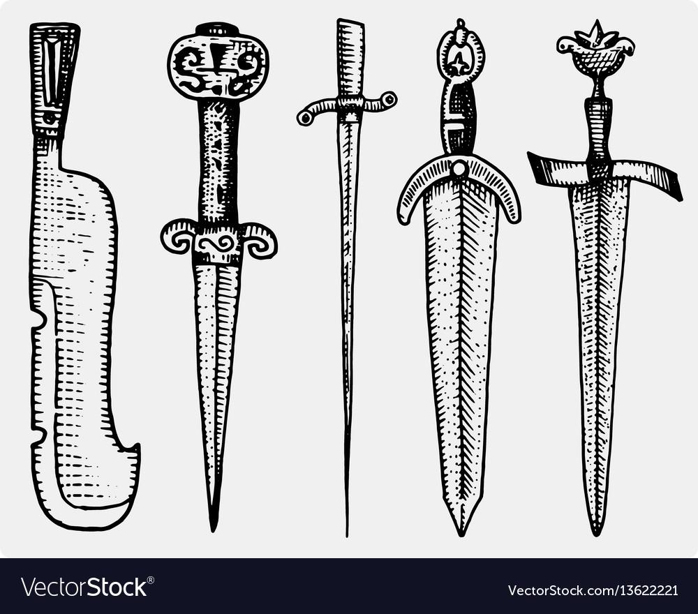 Medieval symbols big set of swords knife and mace